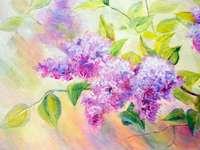lilases na pintura - pintura a óleo com tema lilás