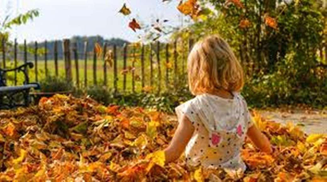 lány a levelekben - kislány őszi levelek (14×8)