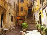 Old town alley with stairs in Rome - Old town alley with stairs in Rome
