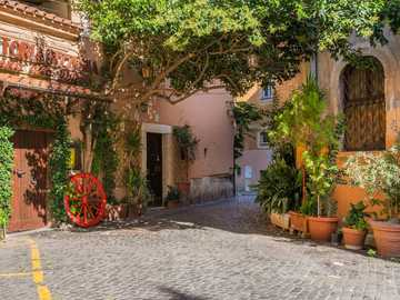 Beautiful alley in the old town in Rome