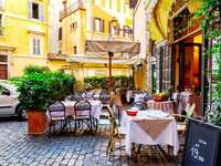 Old town street cafe in Rome