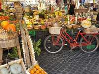 Old town market on the Campo di Fiori in Rome