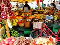 Old town market on the Campo di Fiori in Rome