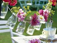 flores em vidro - guirlanda