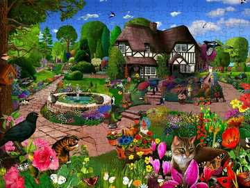 Colorful garden - Garden, house, flower, trees, animals, puzzle