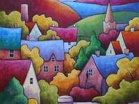 Buntes Dorf in Landschaft - Buntes Dorf in Landschaft
