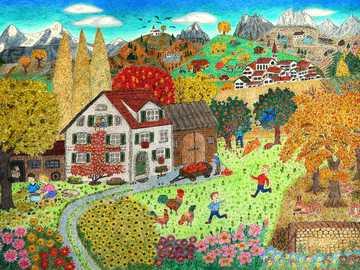 Paisaje de pintura ingenua con niños de la aldea de la casa - Paisaje de pintura ingenua con niños de la aldea de la casa
