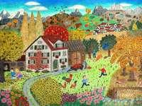 Naivní malířská krajina s dětmi z vesnice - Naivní malířská krajina s dětmi z vesnice