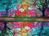 Árboles de filigrana de colores - Árboles de filigrana de colores