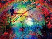 Bunte filigrane Bäume Mond Rabe - Bunte filigrane Bäume Mond Rabe