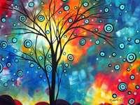 Představte si kopec stromu a barevné nebe - Představte si kopec stromu a barevné nebe