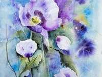 Aquarell in violetten blauen Tönen - Aquarell in violetten blauen Tönen
