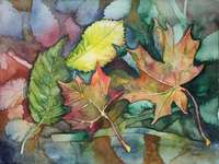 Malování podzimní listí - Malování podzimní listí