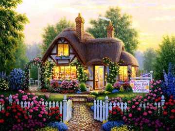La casa de las flores - Casa, flores, arboles, rosas