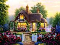 The flower house - House, flowers, trees, roses