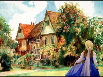 Jardín inglés - Casa, esposa, jardín, flores