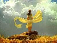 gul halsduk - gul halsduk, kvinna, himmel