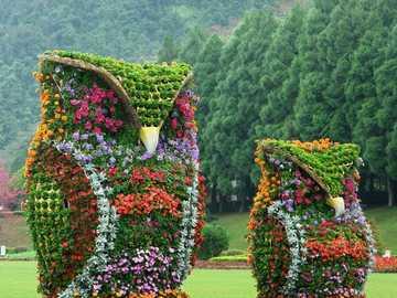 Par de Búhos - Increíble par de búhos cubiertos de flores