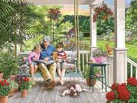 Sur le porche. - Puzzle de paysage.