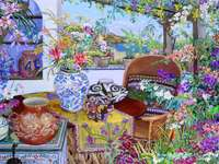 Blumen Ecke - Blumen, Vasen, Tisch, Sessel