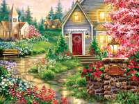 Serenity Lane - Road, houses, flowers, trees
