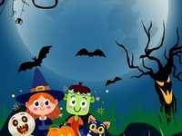 Halloween - Puzzle für Kinder mit 24 Stück. Es wird verwendet, um an Konzentration, Feinmotorik und Aufmerksam