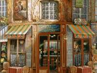 Cafe in Paris - Watercolour illustration of a cafe in Paris