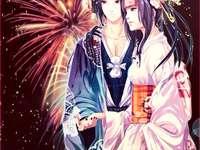Itachi e Ayumi - Itachi e Ayumi vestidos de yukata