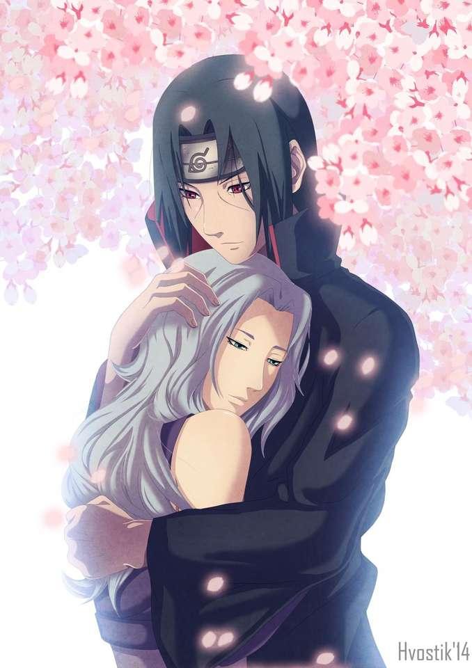 Itachi i Ayumi - Itachi i Ayumi pod różowymi płatkami kwiatów (6×9)