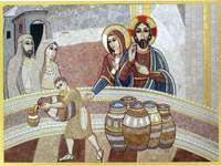 "Wedding at Cana - Marko Rupnik - Mosaic of the priest and artist Marko Rupnik on the biblical episode ""The Wedding at Cana"""