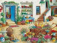 peinture à l'huile - décorations florales devant la maison - m ........................