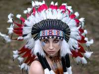 the girl in the Indian headdress - m ........................