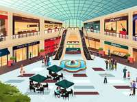Mall, public places - A picture of a mall for kids