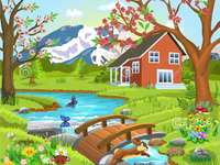 NATURE CHILDREN - House, trees, water, mountain, animals.
