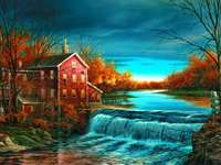 River, Water Mill, Autumn - m ........................
