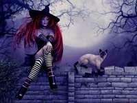 dívka s kočkou na střeše - m ...................
