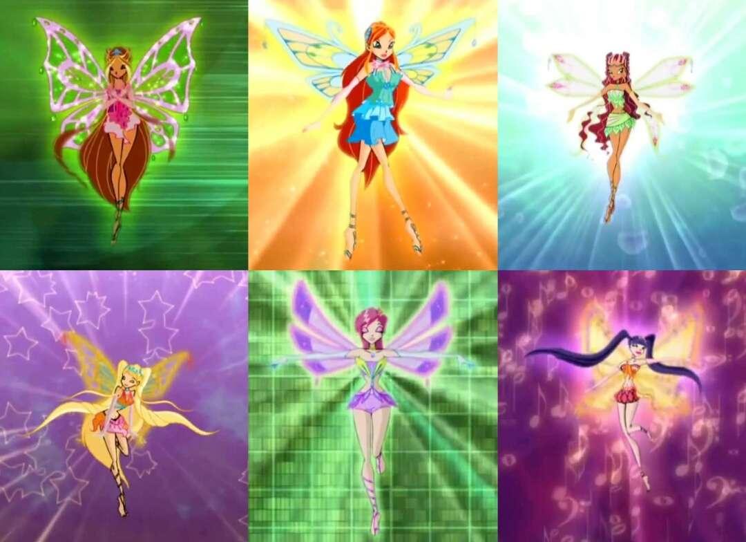 Clubul Winx - Winx club enchantix Flora Bloom Stella Aisha Musa și Tecna (8×6)