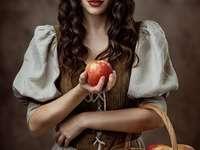Chapeuzinho Vermelho - Mulher com cesta e frutas na idade média