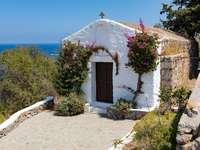 Capelă albă - capelă albă și maro. Rhodos, Rhodos, Grecia