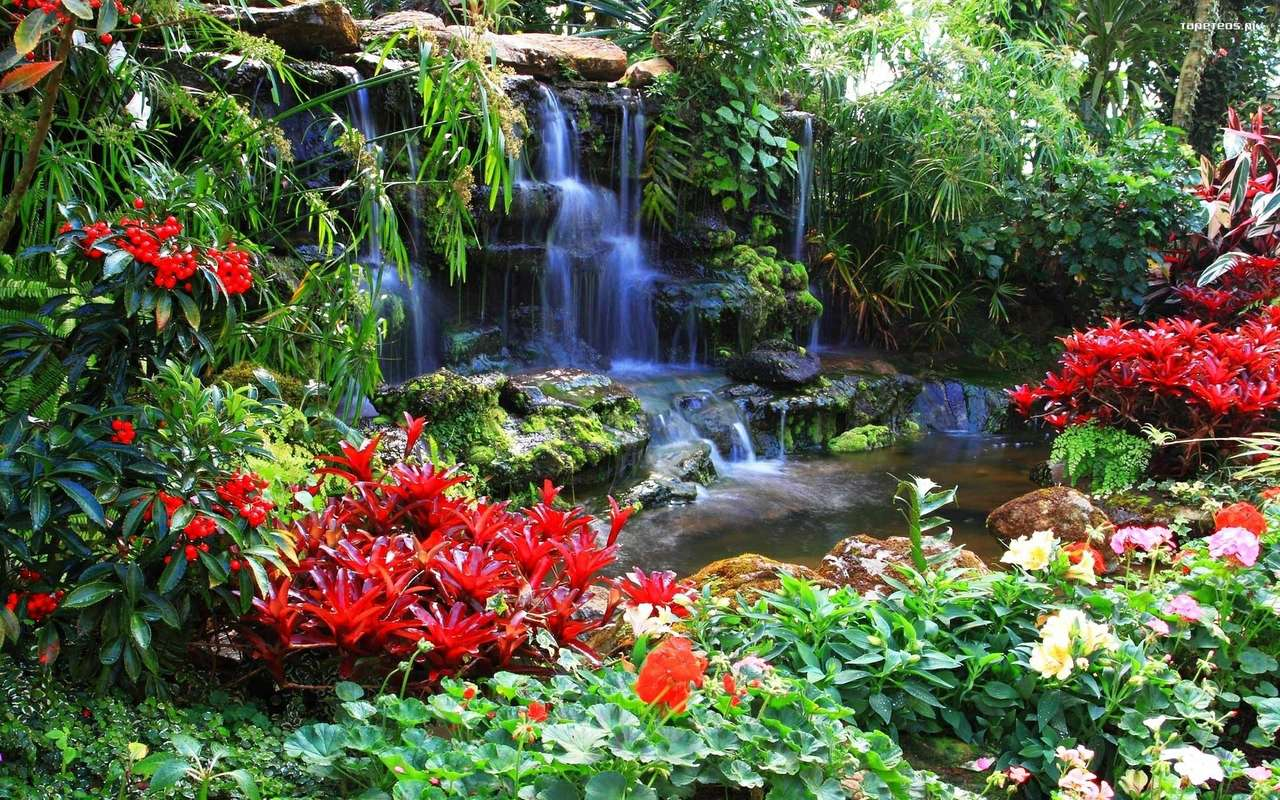 водопад - водопад, скрит сред цветята (11×7)