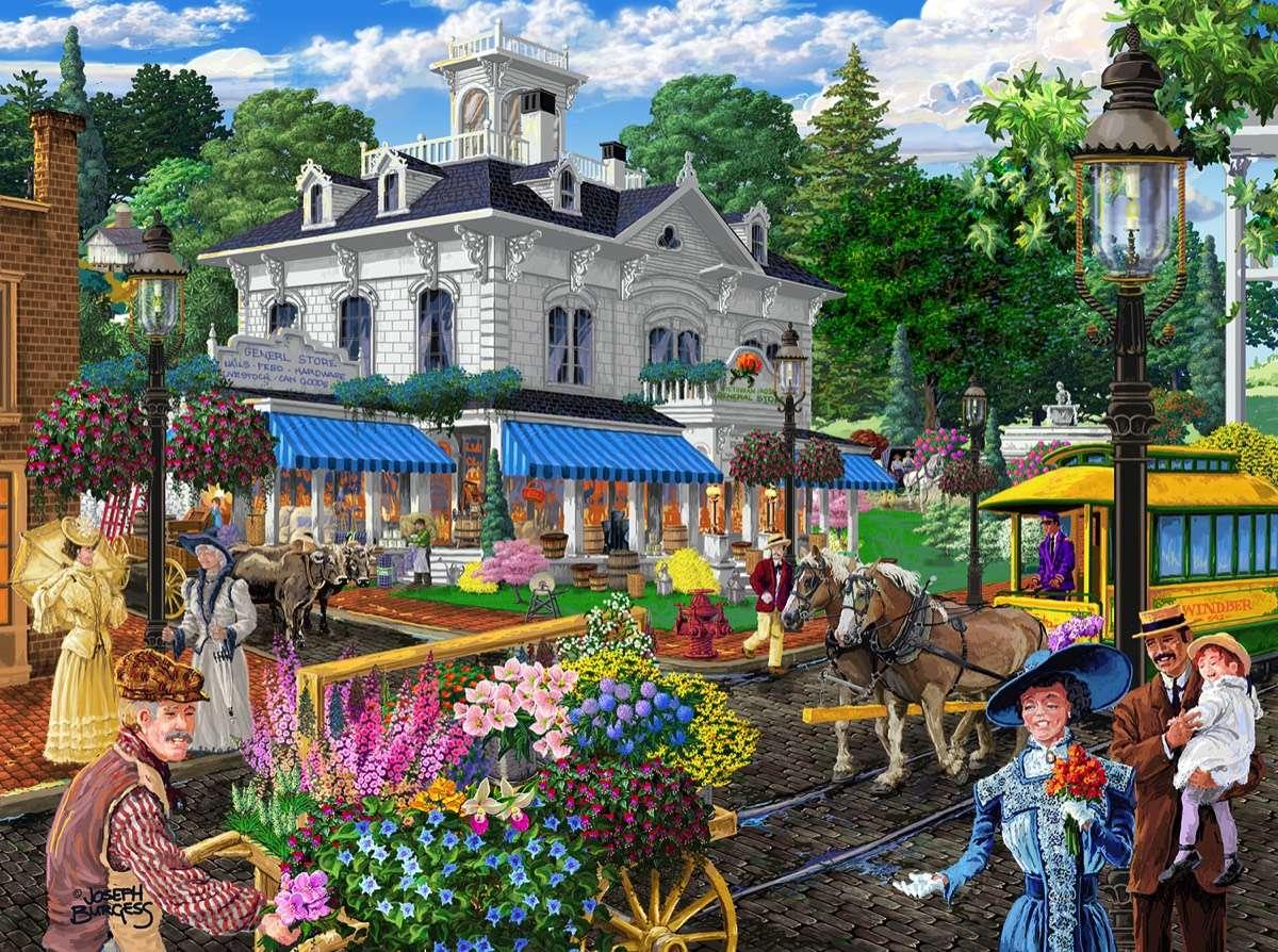 в града - Град, хора, къщи, цветя, животни (12×9)