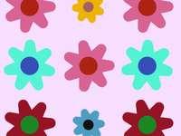 flores que você vai colorir - flores coloridas em um fundo rosa claro