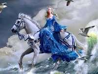imaginação - linda mulher montando um cavalo branco