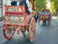 Colorful traditional horse-drawn carriage in Sicily - Colorful traditional horse-drawn carriage in Sicily