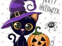 Feliz Dia das Bruxas - gato com chapéu de bruxa