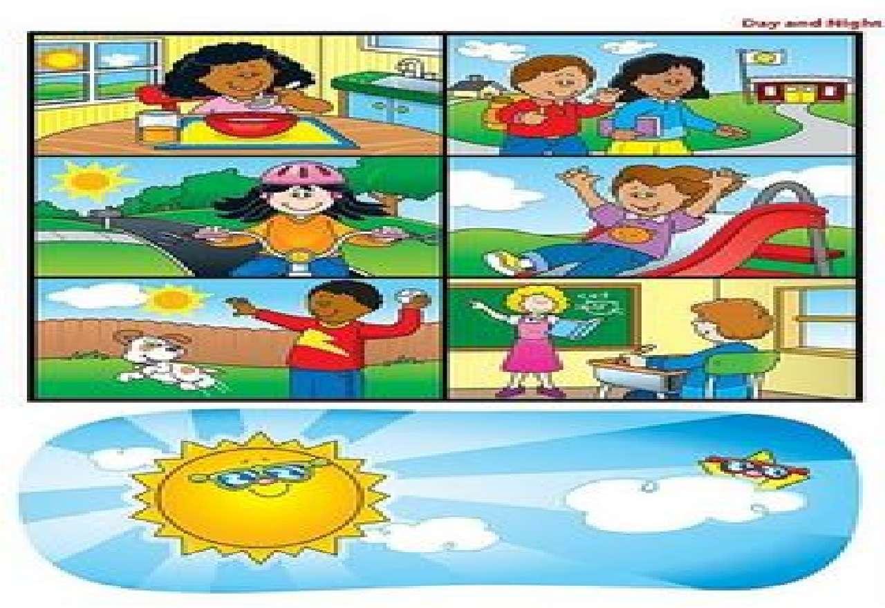 A nap tevékenységei - Milyen tevékenységeket lehet elvégezni a nap folyamán (5×4)
