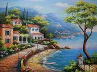 Coast. - Jigsaw puzzle. Painting.