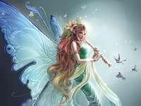 Szép pillangó - Nő pillangó játszik fuvolán