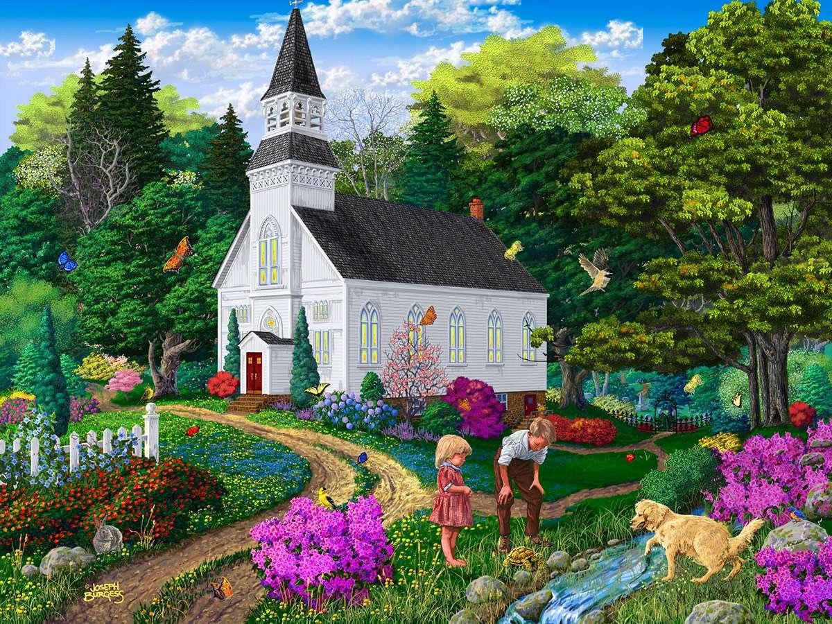 målad kyrka - Kyrka, byggnad, natur, barn, hund (12×9)