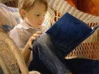 lesender Junge - Junge, Buch, Sessel, Kissen